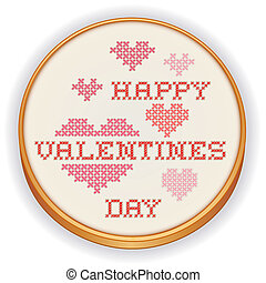 Happy Valentines Day Embroidery - Retro wood embroidery hoop...