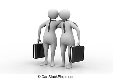 Two business people with briefcase
