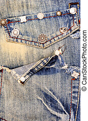 Jeans background - Jeans with pocket and rivets, denim...