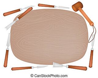 Carving Tools with Wooden Plank on White Background -...