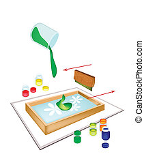 A Squeegee Screen Printing on A Tile - Silk Screen or...