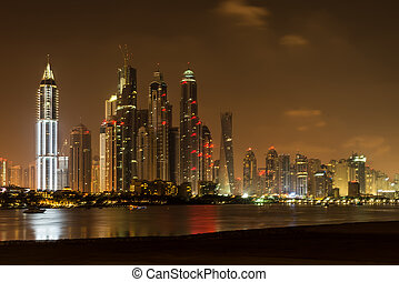 Dubai at night, United Arab Emirates - Dubai is the fastest...