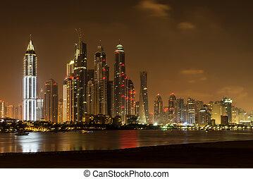 Dubai at night, United Arab Emirates - Dubai is the fastest...