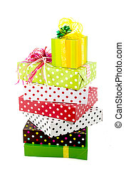 Luxury wrapped presents - a pile with luxury wrapped...