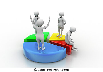 3d people with pie chart,  business