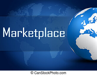 Marketplace concept with globe on blue background