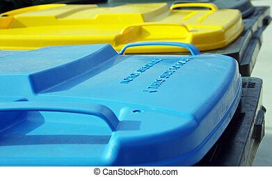 plastic coloured rubbish bins - three coloured plastic...