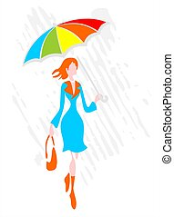 Woman with a umbrella - The stylized woman with a umbrella...