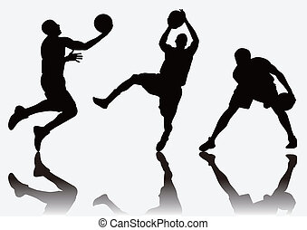 basketball player Silhouette - three basketball players jump...