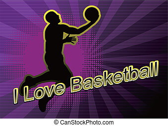 basketball player Silhouette - basketball player slam dunk...