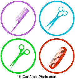 hair salon tools set - colorful icon with hair salon tools...