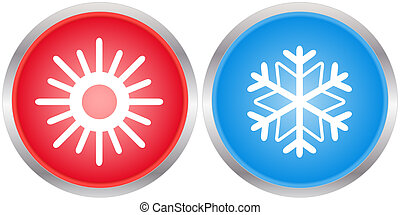 icons with sun and snowflake - set glossy season icons with...