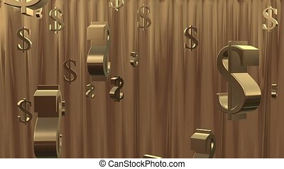 Money Shower Gold - Gold $ dollar symbols rain down from the...