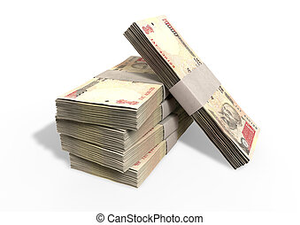 Indian Rupee Notes Pile - A stack of bundled one thousand...
