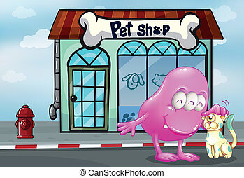 A pink beanie monster and a pet in front of the pet shop -...