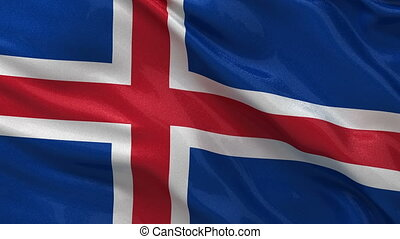 Flag of Iceland seamless loop - Flag of Iceland waving in...