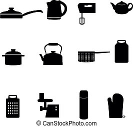 icons of different types of kitchen - Set of icons of...