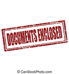 Documents Enclosed-stamp - Grunge rubber stamp with text...