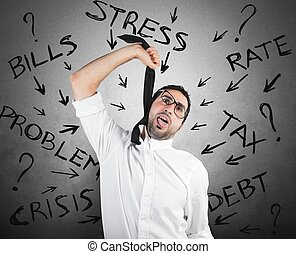Tax and crisis problem - Stressed businessman with tax and...