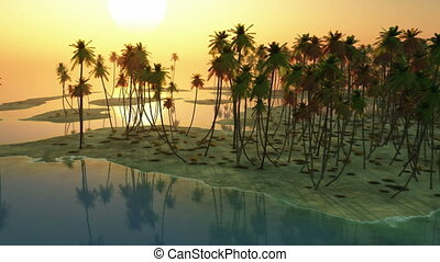 sunset and palms at ocean
