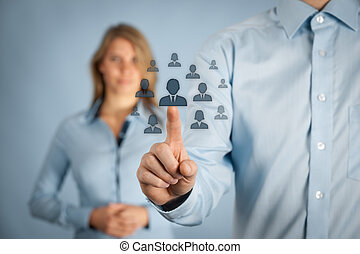 Human resources and CRM concept - officer and supervisor...