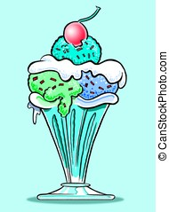 Ice Cream Sundae. - Cartoon of ice cream sundae in sundae...