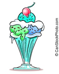 Ice Cream Sundae. WBG. - Cartoon of ice cream sundae in...