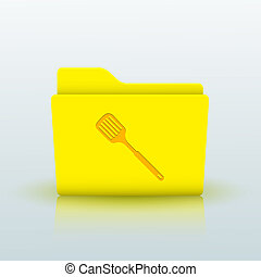vettore, giallo, cartella, blu, fondo, Eps10