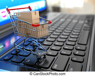 E-commerce Shopping cart with cardboard boxes on laptop 3d