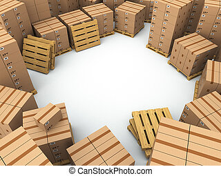 Storage. Cardboard boxes on pallet. Space for text. 3d