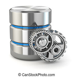 Storage administration concept Database symbol and gears 3d...