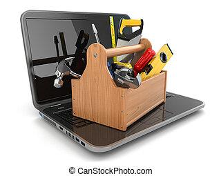 Apoyo, computador portatil, en línea, caja de herramientas