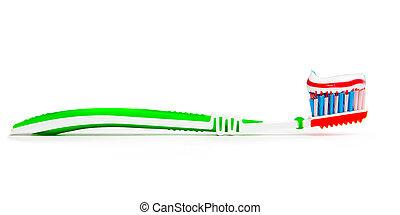cepillo de dientes, tricolor, pasta dentífrica