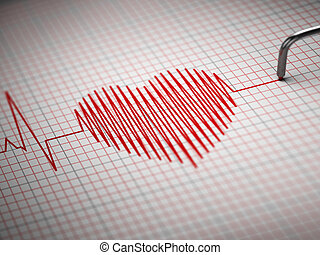 ECG Electrocardiogram and heart beat shape 3d