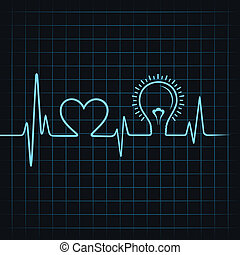 heartbeat make heart and light-bulb stock vector
