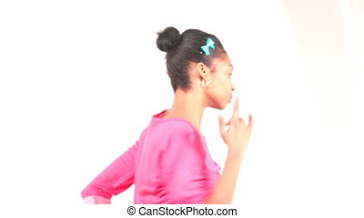 Young girl dancing on white backgro