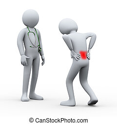 3d person with back pain visiting doctor - 3d illustration...