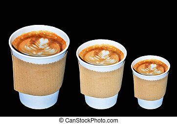 Coffee takeaway cups in three size on black background