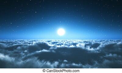 Natt, flykt, ovanför, skyn
