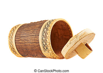 Handmade wooden cylindrical case, lying on its side,...