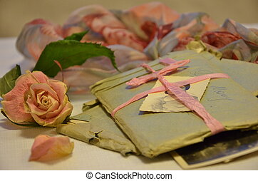 Old letters and memories of love - Old letters in a blue...