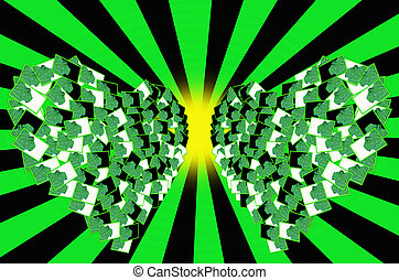 Wall heart green  scattered in infinity