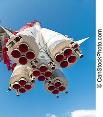 Spaceship on spaceport launch site, outdoors shot