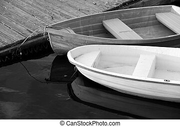 Peaceful scene of rowboats - Peaceful scene of two rowboats...