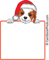 christmas puppy sign - cute puppy holding blank paper for...