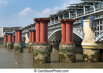 old Blackfriars bridge, London - Remains of old and new...