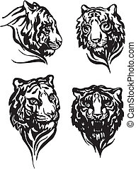 Set of tiger heads Black and white vector illustrations