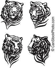 4 tiger heads - Set of tiger heads Black and white vector...