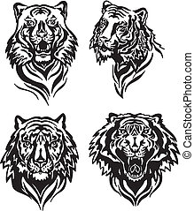 tiger heads - Set of tiger heads. Black and white vector...
