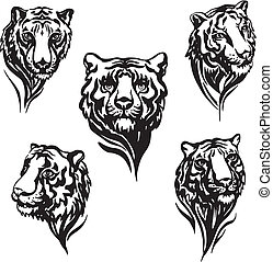 5 tiger heads - Set of tiger heads Black and white vector...